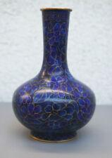 Vintage Chinese Cloisonne Brass Enamel Cobalt Blue Vase Flowers