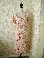 26 COOL VISCOSE MOCK WRAP DRESS PEACH & CREAM PARTY WEDDING HOLIDAY DAY WEAR