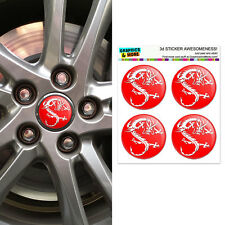 Asian Chinese Dragon - Red - Wheel Center Cap 3D Domed Stickers - Set of 4