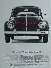 PUBLICITE AUTOMOBILE de 1964 VOLKSWAGEN VW cox Cocinelle french ad advert