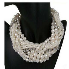 Women White Faux Pearl Cluster Multi Layers Choker Statement Bib Necklace