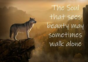 Wild Wolf Mountain Quote Photo Poster Print ONLY Wall Art A4