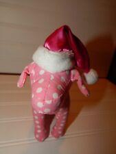 Victoria's Secret Pink White Polka Dot Dog Santa Hat Christmas Plush Toy Stuffed