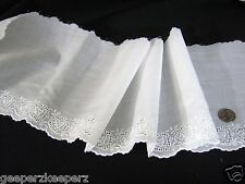 """SWISS Embroidered HEARTS Eyelet Trim BTY 6""""w WHITE Dolls/ Bears/ Smocking NEW"""