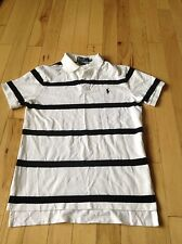 Polo Ralph Lauren Men's Custom Fit S/S Polo Rugby Shirt White Navy Striped Sz M