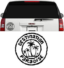 DESTINATION PARADISE TROPICAL HAWAII WINDOW MIRROR DECAL STICKER 4 INCH BLACK