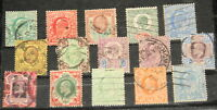 Great Britain 15 KEVII stamps Sc# 127-138, 143, 144, and 148 used, CV $370+