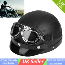 Motorcycle Scooter Open Face Half Helmet Retro Pilot Goggles PU Leather Visor