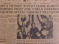 VINTAGE NEWSPAPER HEADLINE ~JFK JONH KENNEDY WINS PRESIDENT FREEDOM VICTORY 1960