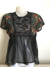 ZARA WOMAN Black Spotted Lace Floral Embroidered Top Size XS Uk 6-8
