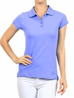 Women's Relaxed Fit Collared Uniform Pique Summer Cotton Short Sleeve Polo Top