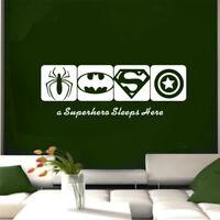 Kids Room Wall Sticker Spiderman BATMAN CAPTAIN AMERICA Super Hero Decal Decor