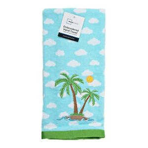 Tropical Island Embroidered Palm Trees Kitchen or Hand Towel Blue White Green
