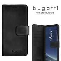 Bugatti Real Leather Black Wallet Case for Samsung Galaxy S8+ Tough Back Cover