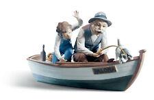 Lladro Fishing With Gramps #5215 Brand Nib Boy Grandfather Dog Boat Save$ F/Sh