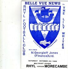 RHYL V MORECAMBE 4/10/1986 multipart league PROGRAMME