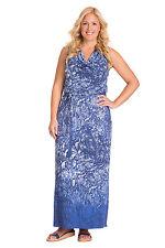 Mynt 1792 Jersey Knit Cowl Neck Maxi Dress in Blue Gradient Snake 4X (26)