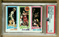 1980 Topps Larry Bird Magic Johnson Rookie RC Julius Erving PSA 5 Celtics Lakers