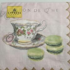 PAPER NAPKINS / SERVIETTES PACK OF 20 TEA CUP AND MACAROON DESIGN 3PLY