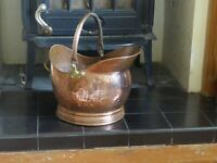 Vintage Hammered Copper  Centurion Helmet Coal Scuttle Coal Bucket
