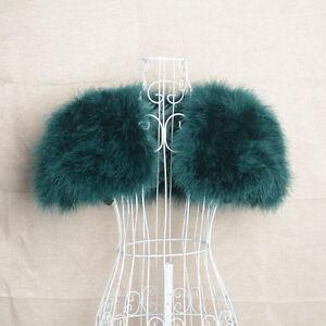 Women Wedding Bridal Shrug Shawl Ostrich Feather Fur Poncho Wrap 61264
