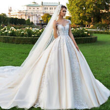 Champagne Wedding Dresses Bridal Ball Gown Cap Sleeve Cathedral Train Lace Tulle