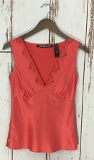 DKNY JEANS Sleeveless Red Orange Coral Slip Top Lace V neck Ladies Size 4