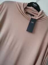 LADIES M&S SIZE 12 18 OR 20 PINK SOFT SILKY ROLL POLO NECK STRETCH TOP JUMPER