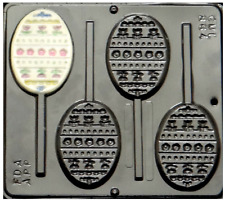 NEW 4 Cav Decorated Easter EGG Candy Fondant Butter Plaster Clay Lollypop Mold