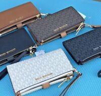 Michael Kors MK Signature  Double Zip Phone Wallet Wristlet Brown Vanilla Black