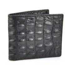 Body Skin 100% Genuine Crocodile Alligator Bifold Leather Mens Black Wallet