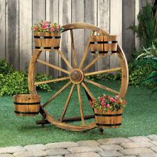 Wood Wagon Wheel Barrel Planter Display Stand Outdoor Flowers Plants