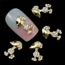 5 x 3D Gold Alloy & Clear Rhinestone Nail Art Cute Dog Decoration  (I2)