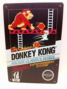 TIN Metal  SIGN Donkey Kong Game Cover Man Cave Gameroom Decor Brand New