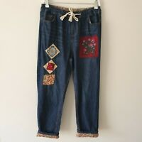 Vintage Handmade Floral Patch Cuff Jogger Jeans Small High Waisted 80s 90s Boho
