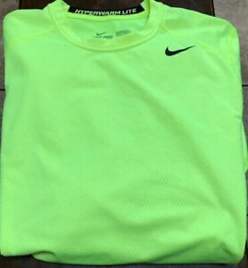 Nike Pro Combat L/S fitted shirt size XL neon yellow