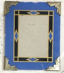 Vintage Art Deco Reverse Painted Photo Frame Blue Black Gold 4 X 5