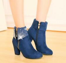 Womens Ladies Ankle Boots Chelsea Diamante Block Heels Party Casual Winter Shoes