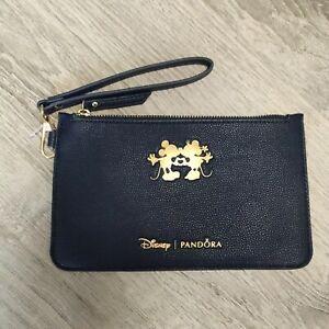 Pandora Disney Mickey Minnie Limited Edition Wristlet Clutch Bag Navy Blue Gold