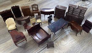 Lot Marx Dollhouse Furniture Living Room Piano Brown Renwal  Hard Plastic Vtg