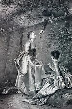 Metzmacher 1888 CHERRIES RIPE Young Man Wall Women Antique Art Print Engraving