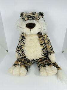 """Jellycat Junglie Bunglie Bashful Tiger Plush 15"""" Tan w Black Stripes Rare W/Tags"""