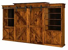 Amish Rustic Wall Unit Entertainment Center Sliding Barn Doors Solid Wood Teton