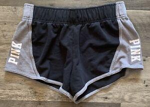 Victorias Secret Pink Black/Gray Short Sweat Shorts Womens Small