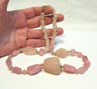 PINK QUARTZ GOLD BEAD NECKLACE STRAND STRING 17 INCHES 65.3 GRAMS