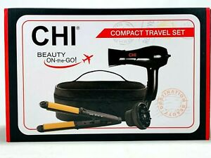CHI Compact Travel Set 3-in-1 Hairstyling Iron And Dryer Zip Bag Black