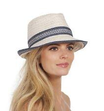 Eric Javits Big Deal Fedora Hat in Cream / Blue Tweed - $165