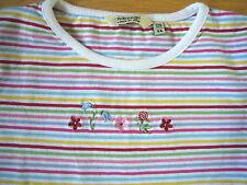 H&M Ringelshirt Cotton Bunte Ringel u.Stickblumen Gr.128  w.Neu!