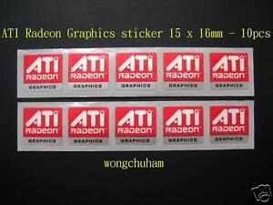 ATI Radeon Graphics sticker 15mm x 16mm - 10 pcs