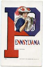 "College Girl Signed Christy ""Pennsylvania"" University 1907"